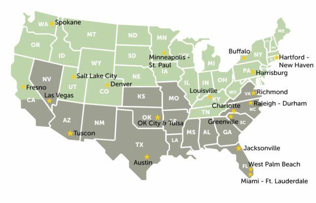 A map of available area development locations (from east coast to west coast): Hartford - New Haven CT, Buffalo NY, Harrisburg PA, Richmond VA, Raleigh-Durham NC, Charlotte NC, Greenville SC, Jacksonville FL, West Palm Beach FL, Miami - Ft. Lauderdale FL, Louisville KY, Minneapolis - St. Paul MN, OK City and Tulsa OK, Austin TX, Denver CO, Tuscon AZ, Salt Lake City UT, Las Vegas NV, Spokane WA, and Fresno CA.