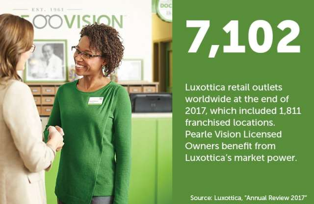 "An image of a Pearle Vision associate greeting a customer next to a green text field that reads ""7,102 