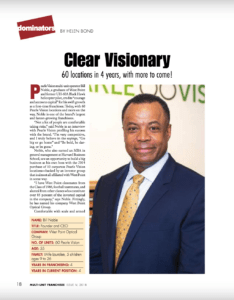 Multi-Unit Franchisee magazine article cover featuring Pearle Vision owner, Bill Noble