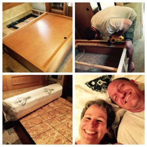 May 2, 2015 So it took all damn day and into the night, but there's only a little left to do tomorrow to complete our king-to-queen RV bed project. I could have made any number of off-color jokes about all the ratcheting, screwing, hammering, nailing, drilling, grunting, swearing, sweating, shifting of hydraulics and twisting of nuts that went on, but that would have been too easy. So instead I just kept track of what we said. I think you'll be amply amused. Had you been lurking in our driveway between 11 a.m. and 9 p.m. today, you may have felt your eyebrows rise right up into your hairline upon hearing any number of the following, all of which we actually said, for real, no kidding: Hold it there. No, not there. *There*. OK, now tighter. Stop stop stop! Did it go through? Please stop farting in here. Did it come out? Can you see the end? Shit! It broke. Oh god. Where's the vacuum cleaner? Honey, I really don't think you need your safety glasses for this. Is that a tortilla chip? Is that blood? Ten inches. Remember ten inches. Pass me my magic gloves, please. Does it matter which way I turn this? Are we finished yet? This may be too soft. Stop. Farting. I don't know what you want me to do with this. Put it on the end. This is such a handy tool. Wait. We're missing a piece. Is that blood? That hurt. Are we gonna be able to get that back in? Take that off. I need another little piece in there so I have something to screw against. I have no idea what that is. Oh wow! That's actually close enough. 93.5 inches. OK, let it go. I don't know if I'm in the right spot. Ooh, I walked around the corner and got it in my eyes. I don't need a four-inch. I need three-inch, but I don't see any. OK, I'm gonna be more down on this end now. Oops! That didn't go in very far did it? Where'd the head go? I can't believe the battery just died right in the middle. I'm gonna want another one in a minute. Why won't that go in? Well, can you brace it with your knee or something? Ohhhh, I am gonna be sore tomorrow. Well let's push it out and see what happens. This is why I need a bigger workshop. Never mind. I'm already done. You really need to take better care of your toys. I love these clamps. Good thing nobody's looking, right? Huh. I wasn't expecting that to strip. That's the side we don't need to touch right? Oh my god stop farting! Wonder how those got in there. Is that more blood? Jesus Christ. How about you go get cleaned up first?