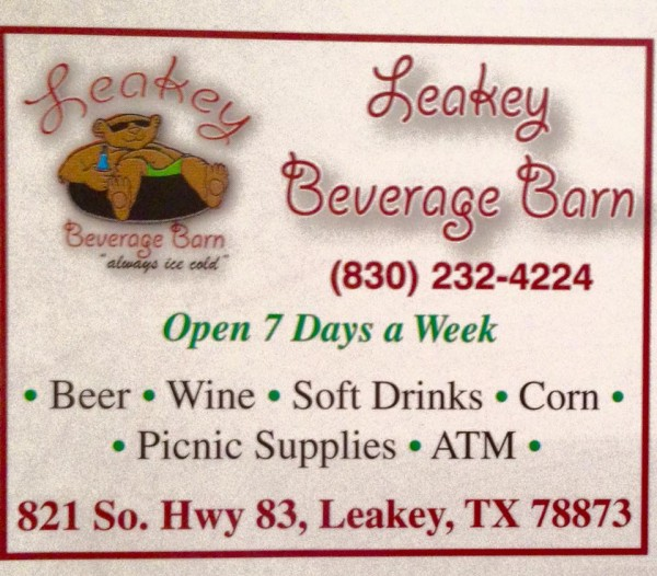 Just a few miles from the park: Leakey beverages. Right. And... corn? Corn is a thing with the beer and the wine?