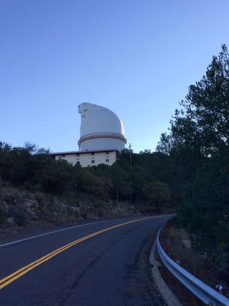 The Astronomers Lodge, where visiting researchers and special guests stay while working at the observatory, is that low yellow building there below the Harlan J. Smith Telescope. (Home of the famous mashed potatoes!)