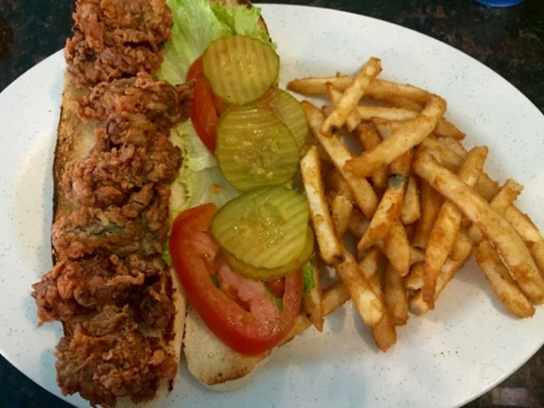 Lunch at Nemo's Seafood Grill. The fried oyster po'boy was tasty, but became not-such-a-good-choice on that steamy ride home afterwards. Urp.
