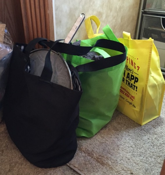 Items out: Three bags of stuff we thought we'd use but haven't since we started full-timing in August. They're on their way to the nearest donation box.