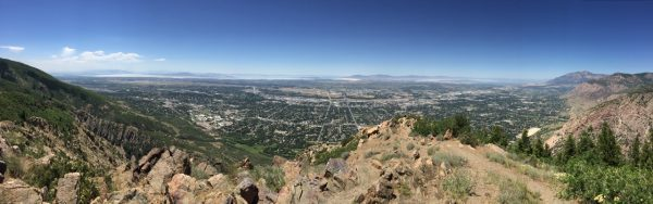 View from Malan's Peak, elev. 6980 feet That's the Great Salt Lake in the distance.