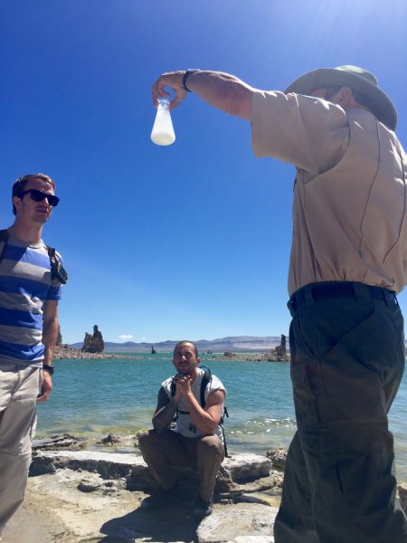 Our ranger, Duncan, did a demo showing how fresh water interacts with the briny lake water, which has a PH level of 10. That's salty! (Also, I did not take this photo to sneakily capture the hottie biker guy sitting on that rock, but I can't say I'm disappointed. His eyes.