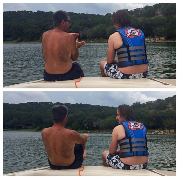 Jay showing Dane a few tips before his first time on the skis. Fun fact: Dane is 19. Last time I went water skiing was the summer I was 19.