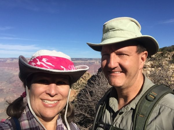 "We always look so happy and clean at the start of a hike. By the time we're finished, we're both filthy, soaking wet, stinky, and I'm crabby as hell because my body doesn't handle depletion well. You've heard of a mean drunk? Well I'm a mean hiker. When I growl, ""Stop talking to me,"" Tim knows that's his cue to put about half a mile between us."
