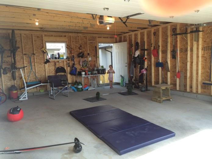 makeshift garage gym