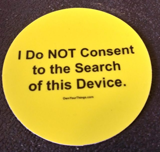 I do not consent to the search of this device