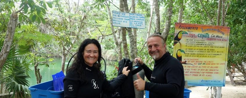 Mexiko, Tulum, Cenoten Tauchen: Wir sind bereit, die Cenote Car Wash auch