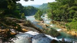 Palenque, Agua-Azul: Die gesamte Anlage ist zu groß um sie auf das Bild zu bringen