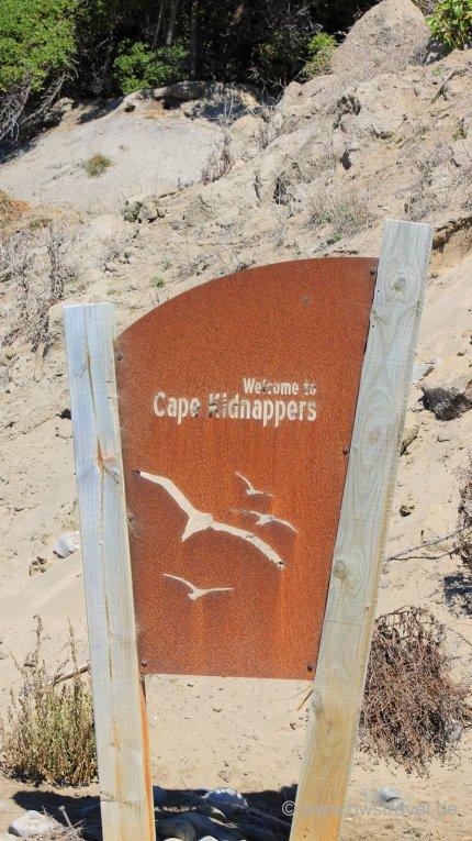 Der Eingang zum Naturschutzgebiet Cape Kidnapper