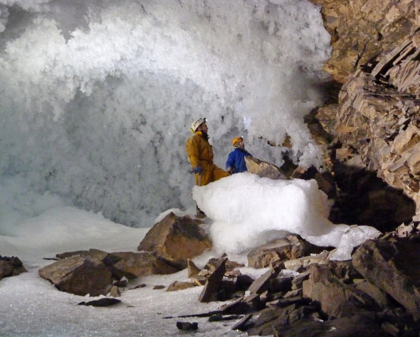 Siberian cave with researchers
