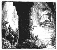 Ali Baba enters the cave of the 40 thieves. If you are brave and clever,  you leave Pluto's realm with riches. from Andrew Lang