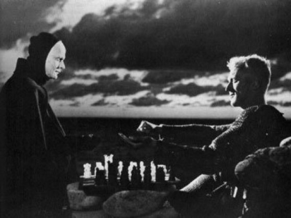 Death plays chess with Antonius Block in Ingmar Bergman's The Seventh Seal. The title of the movie refers to the Book of Revelations. Here is an image of the relentless energy of Saturn vs a frail human. In the Book of Revelation seven seals close the document of the apocalypse which can only be opened by a lamb with seven eyes and seven horns.