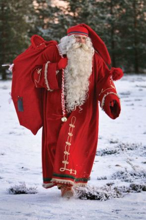 Finnish St Nicholas striding through the snow. Found on Pinterest.