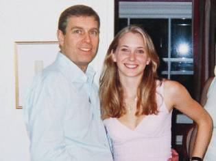 Prince Andrew with Virginia Roberts, who has accused him of havinf sex with her when she was under age.