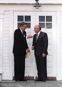 Reagan and Gorbachev in Rejkjavik, Iceland -- a meeting that paved the way for INF