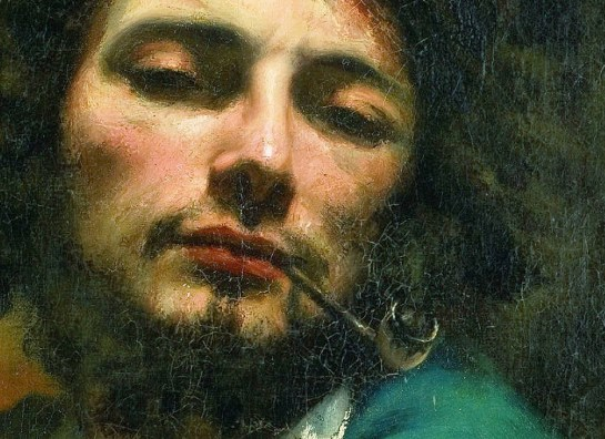 Detail of Gustav Courbet self-portrait