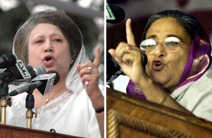 Khaleda Hasina (left) and Sheikha Hassan (right) put aside their rivalry to get rid of a military dictatorship in Bangladesh. Now it's back to the battle as usual.