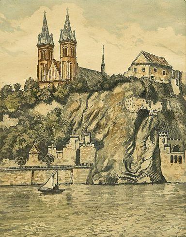 View of Vyšehrad on the Moldau by Emil Wänke