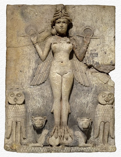 "The ""Queen of the Night"" bas relief from Mesopotamia at the British Museum. Notice how she has the owls, like Pallas, and the lions."