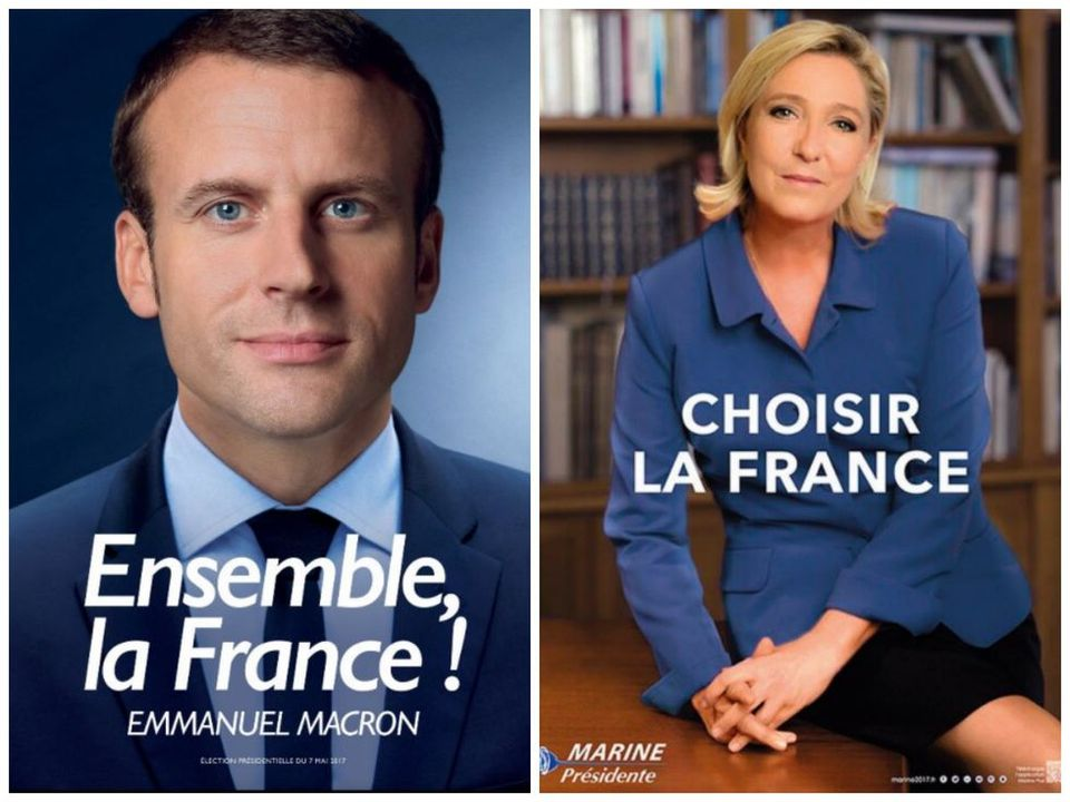 Campaign posters for Macron and Le Pen. Two kinds of patriotism.