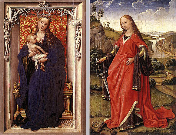 Virgin and Child Standing in a Niche. Saint Catherine of Alexandria. Rogier van der Weyden,