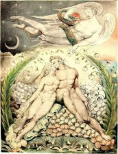 Satan watches the caresses of Adam and Eve —by William Blake