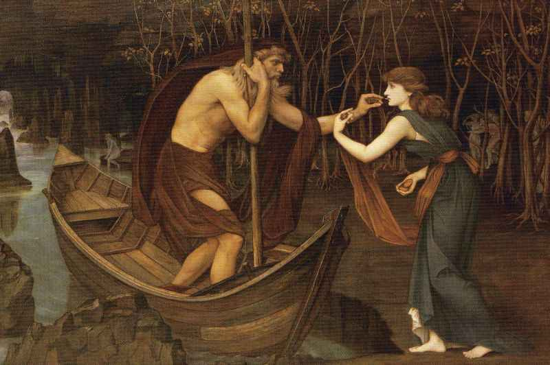 Psyche gives a coin to Charon, ferryman of the dead. She has been sent by Aphrodite to fetch a magic box of cosmetics from Persephone.
