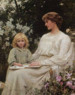 Mother And Daughter Reading a Book. Edwin Harris