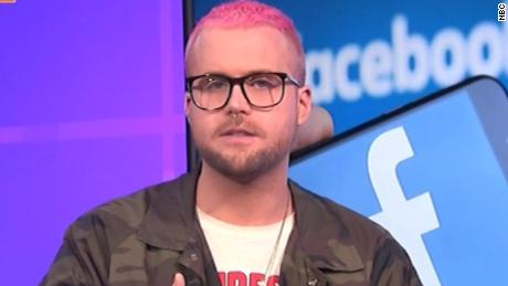 Whistleblower Christopher Wylie on CNN — the face of Mercury in Aries, right down to the pink hair.
