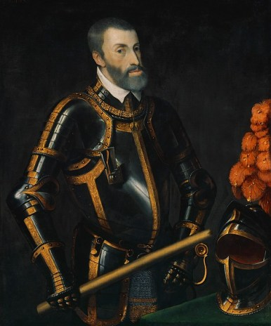 Charles V — Holy Roman Emperor in Middle Age.  This is a copy of the original by Titian. Notice that his armour is black. The Spanish Hapsburgs introduced the fashion for wearing black — the colour of both Saturn and Pluto — at this time. By the end of the century, most European monarchs were dressed in black.