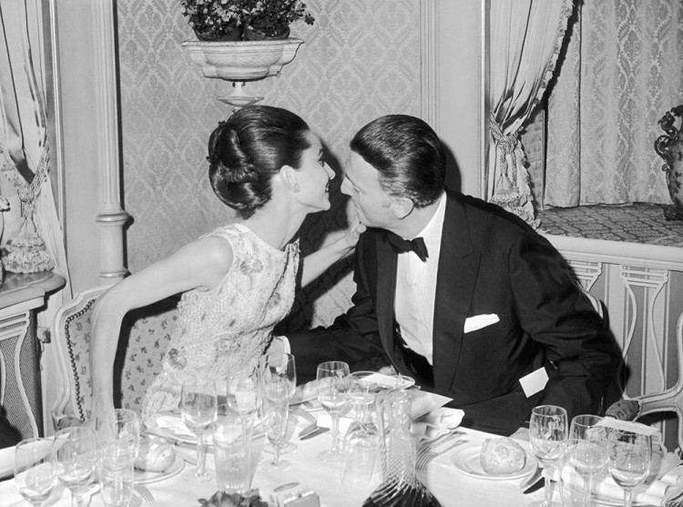Audrey Hepburn and Hubert de Givenchy at the opening of My Fair Lady