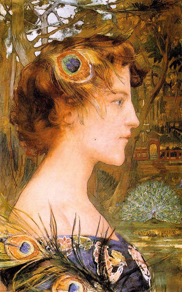 Profile with Peacocks, Edgar Maxence