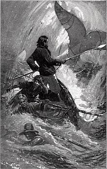 Captain Ahab chases Moby-Dick