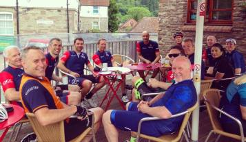 Relaxing on the outside terrace of The Filling Station Cafe in Tintern, with Paul Lewis (in blue top) who joined us from his home in Abergavenny.