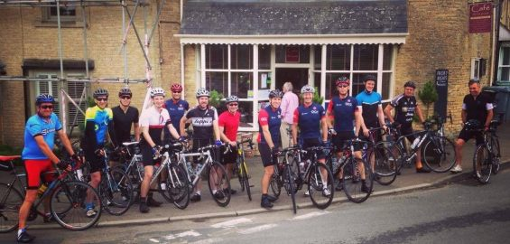A stop at Cafe de la Poste in Chadlington during a social ride for new riders.