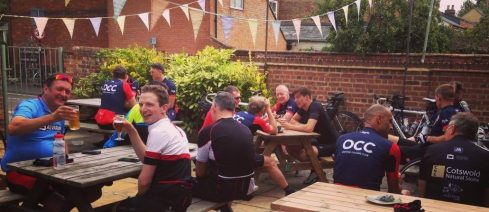 A busy post-ride gathering in the garden at Home on the Abingdon Road.