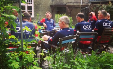 Relaxing at the Fig Tree Cafe in Abergavenny, before tackling the infamous Tumble climb in South Wales.