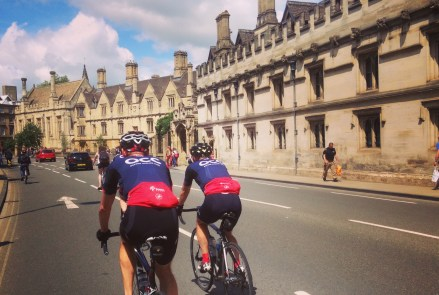 Flying up the High, past Magdalen College, at the end of a summer club ride.