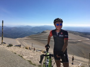 Webby at the top of Mont Ventoux in August 2018 - his first ever ascent of The Beast of Provence.