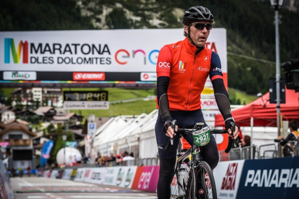 Danny Wright crosses the line to complete the 2017 Maratona in the Italian Dolomites.