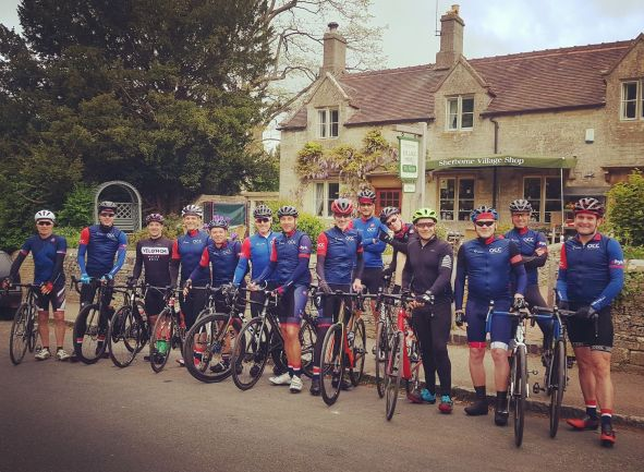 A club day trip in May 2019 to the west Cotswolds, starting at Sherborne Cafe near Burford.