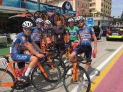 Alan Penny (centre) on mechanic duties for Team Zappi at the U23 Giro d'Italia 2019
