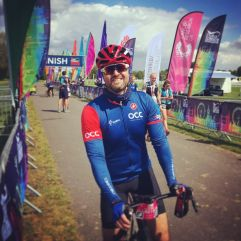 Marcus Barreto on the finish line of the Dulux London 100 Sportive