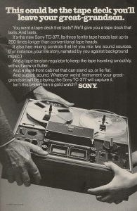 Bold: Sony boast about the TC-377 in an original advert