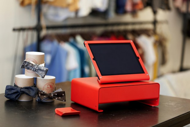 Heckler Design WindFall and cash drawer in bright red photographed on location at Mercantile salon and boutique in downtown Phoenix. Photography by Jill Richards