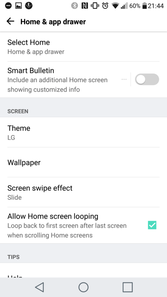 Home Screen Settings LG G5